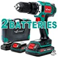 "Cordless Drill,LANNERET 20V MAX Lithium-Ion Cordless Drill/Driver Kit,19+1 Clutch,338 In-lbs Torque,Fast Charger,2-Variable Speed,Built-in LED,2X2.0Ah Batteries,1/2"" Keyless Chuck,BMC Packing"