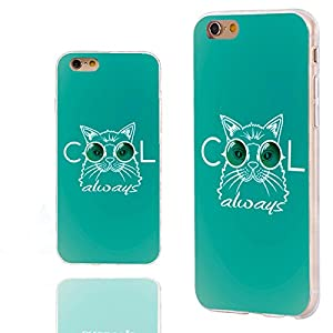 iPhone 6s Case,iPhone 6 Case,Case for iPhone 6 6s 4.7 Inch,ChiChiC [Arty Series] Full Protective Slim Flexible Durable Soft TPU Cases, Funny muzzle cat in sunglasses Cool always on ocean background