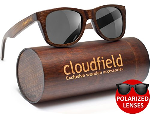 Wood Sunglasses Polarized for Men and Women by CLOUDFIELD - Wooden Wayfarer Style - 100% UV 400 Protection - Premium Build Quality - Bamboo Wooden Frame - Perfect Gift (Brown, Black)