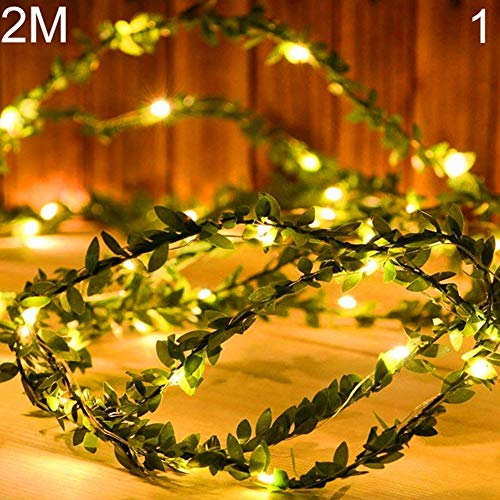 - litymitzromq Fairy Lights Twinkle Lights, 2/5/10M Artificial Leaves Copper Wire LED Light Wedding Party Decor Lamp for Patio Garden Porch Backyard Party Deck Yard