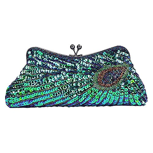 Sequins Clutch Blue Bag Party Purse Vintage Glitter BAOBAO Beaded Wedding Evening Peacock 5q6wPEZ