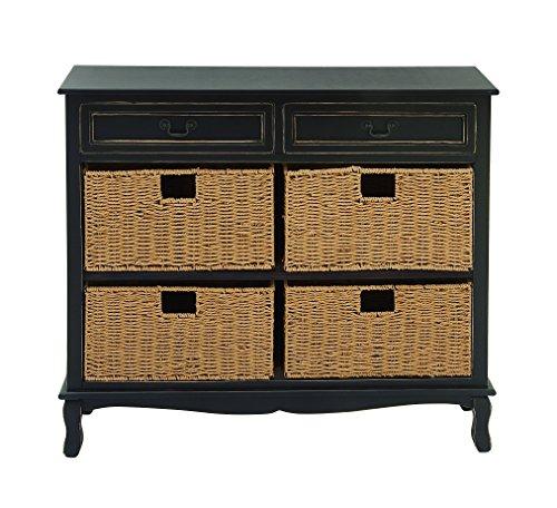 Deco 79 96378 Wood Seagrass Dresser, 40'' x 36'', Black ()