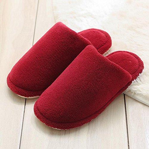 Cotone fankou pantofole femmina coppie indoor sweet home anti-scivolo per stare al caldo scarpa spesso uomini inverno 35-36,: Azzurro