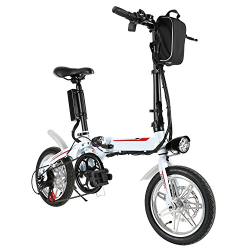 eshion 14inch eBike Folding Electric Bicycle with 36V Lithium-Ion Battery (White)