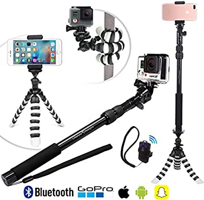 NEW HD Flexible Tripod & Selfie Stick 4-in-1 Photo/Video Bundle w/ Bluetooth Remote – Best Creator Kit for New iPhone 7 & 6 Plus, Samsung S8, GoPro Hero 5 & All Digital Cameras