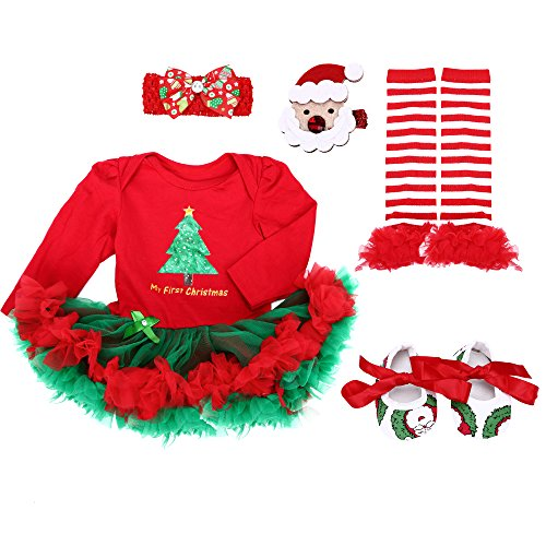 Christmas Apparel - TANZKY® Baby Girls' 5PCs Long Sleeve My First Christmas Headband Legging Shoes US Size 3M