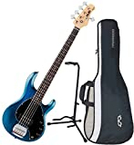 Sterling by Music Man RAY5 5-String Electric Bass Guitar Satin Blue w/ Gig Bag and Stand