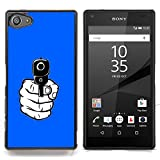 STPlus Gunpoint Gun In Hand Firearm Hard Cover Case for Sony Xperia Z5 Compact (Royal blue)