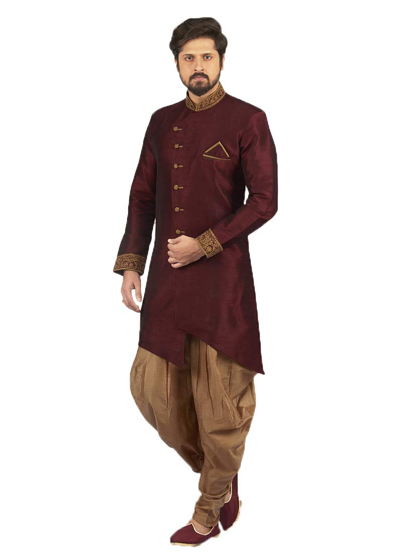 Indian Royal Designer Embroidered Art Banarasi Silk Festive Wedding Wear Sherwani for Men (11478) (42, Wine)
