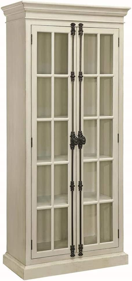 Curio cabinet with cremone bolt has French country style