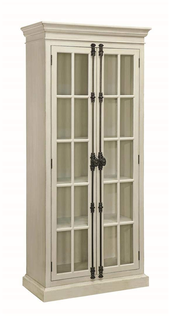 Coaster Home Furnishings 2-Door Curio Cabinet Antique, White and Clear by Coaster Home Furnishings