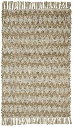 Superior Chevron Hand Crafted Jute and Cotton Entry Rug 2 x 3 – Doorway, Entryway, Hallway – Cream
