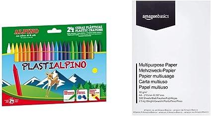 Alpino PA000024 - Estuche con 24 ceras + AmazonBasics Papel multiusos para impresora A4 80gsm, 1 paquete, 500 hojas, blanco: Amazon.es: Oficina y papelería