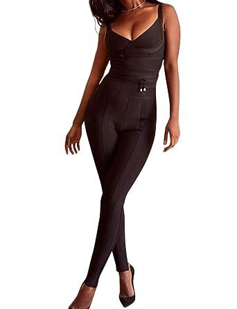 Whoinshop Women s Spaghetti Strap V Neck Jumpsuit Stretch Bandage Waist  Cinching Romper One Pieces Pants Black ee4c5f67f