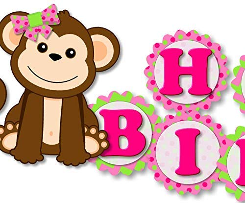Pink Girl Monkey Banner - HAPPY BIRTHDAY - Garland Bunting Party Decoration - Handmade in USA ()