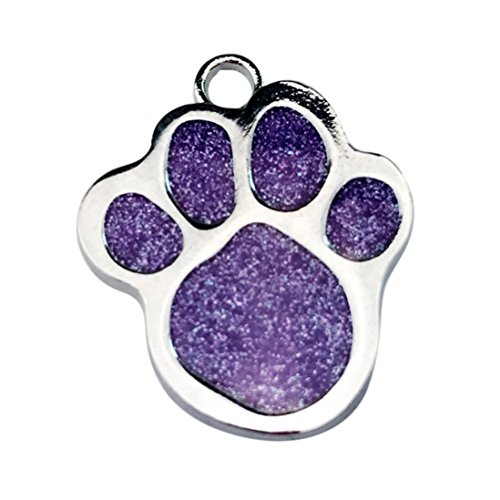 Sunward Pet ID,Dog and Cat Tags. PAW Print Custom Pet ID Tags For Small Medium Large Dogs and Cats, (Glitter Cat Collar)