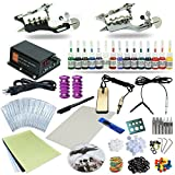 Professional Complete Tattoo Kit 2 Top Machine Gun 54 Color Ink 20 Needles Power Supply