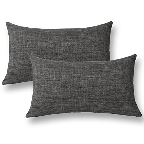 "Jeanerlor Home Decoration Faux Linen with Bamboo Texture Euro Throw Pillow Sham Cushion Cover for Sofa/Couch Dark Grey, 12""x20"",Set of 2 (Linen Cushion)"