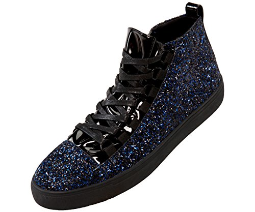 Sio Faux Leather Glitter Mid Top Sneaker with Pattent Eyestay and Black Outsole, Style Mendoza