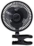 Comfort Zone 6 INCH- -2 Speed - Adjustable Tilt, Whisper Quiet Operation Clip-On-Fan with 5.5 Foot Cord and Steel Safety Grill, Black