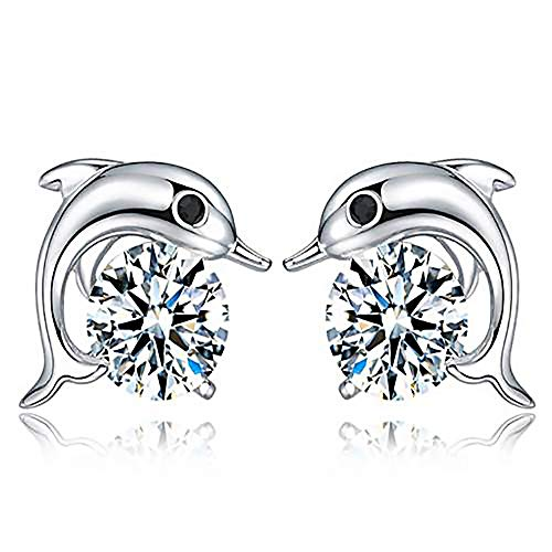 GAOQQ Women Fashion Jewelry Elegant Rhinestone Crystal Ear Stud Earrings Cute Dolphin