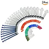 24 Sets Luer Lock Syringe 10ml 3ml 1ml with Blunt Tip Needles and Caps by V-Story