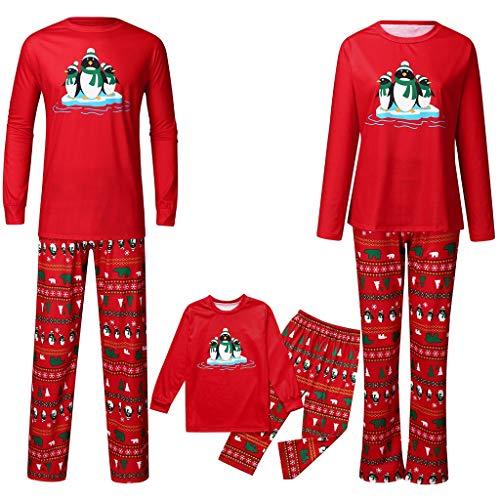Family Matching Christmas Pajamas Set,Crytech Cute Cartoon Penguin Xmas Loose Casual Sleepwear Pj Top+Pants Outfit for Parent Children Women Men Toddler Kids Winter Fall Clothes (3-4 Years, Child)