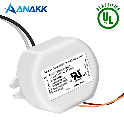 Anakk 33V DC 20W Led Driver Power Supply TRIAC Dimmable Transformer For LED Strip UL Approved by Anakk