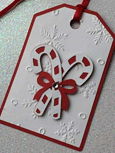 Candy Cane Snowflake Embossed Christmas Gift Tags - Set of 6 Tags