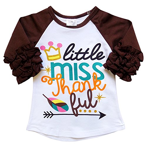 [New So Sydney Toddler & Girl Fall & Winter Holiday Sparkle Ruffle Raglan T-Shirt (S (3T), Thankful)] (Girls Halloween Shirts)