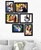 Paper Plane Design Collage Photo Frames (Set of 6, Wall Hanging),Black