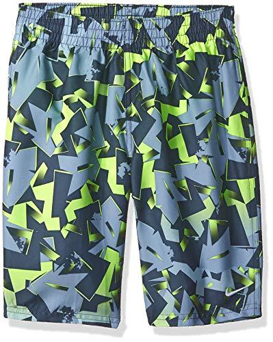 (Nike Swim Big Boys' Printed Volley Short Swim Trunk, Volt Glow Drift Mania Lap, Large)