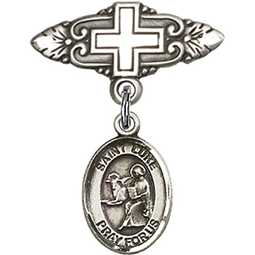 Sterling Silver Baby Badge with St. Luke the Apostle Charm and Badge Pin with Cross 1 X 3/4 inches