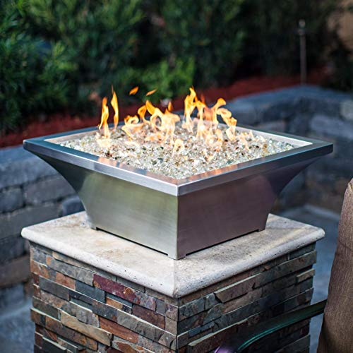 High Rise Natural - Lakeview Outdoor Designs Lavelle 18-Inch Square High-Rise Natural Gas Column Fire Bowl - Stainless Steel