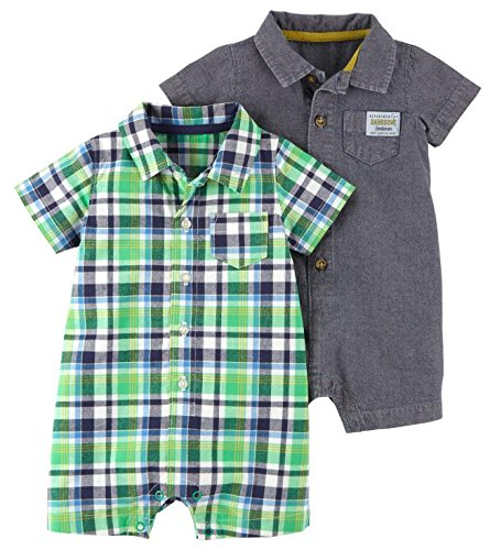 Carter's Baby Boys' 2-Pack One Piece Romper, Blue Stripe/Green Plaid, 6 Months