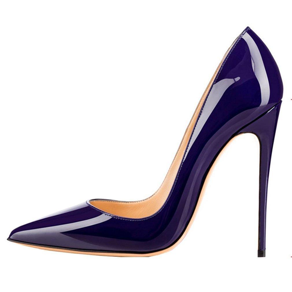 Emiki - Zapatos de tacón con punta cerrada Mujer EU44=28.2cm|Lila Lackleder