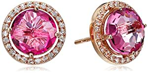 Kalan by Suzanne Kalan Pink Topaz and White Sapphire Post Earrings