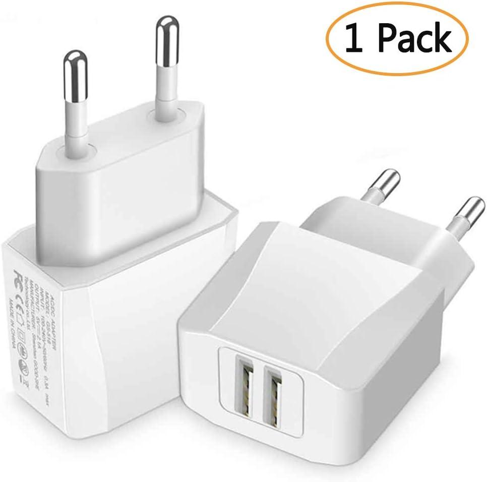 Luvfun Chargeur Secteur USB, 2-Port (5V/2.1A) Chargeur USB Chargeur Mural USB Universel avec pour Samsung, Nexus, Nokia, Huawei, Tablet Blanc [Lot de 1]