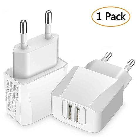 Luvfun [1-Pack] Cargador USB, 2 Puertos (5V/2.1A) Cargador Móvil Cargador (Blanco)