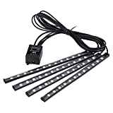 Car LED Strip Lights, Muti-color Music Car Led Light Strips Under Dash Lighting Kit, With Sound Active Function and Wireless Remote Control For DIY Car Indoor Party, 4Pcs