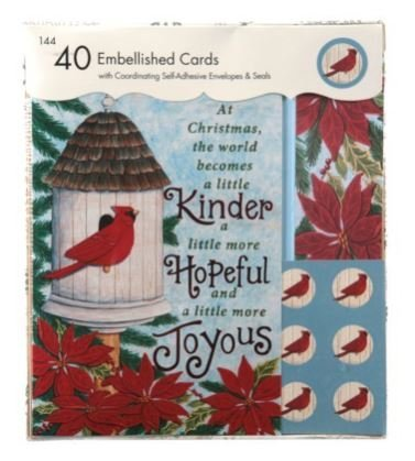 Vintage Style Christmas Card - Vintage Style Embellished Holiday Cards ~ Cardinal - Christmas Kindness, Hope, and Joy (40 Cards, Matching Self-adhesive Envelopes and Seals) by Paper Magic