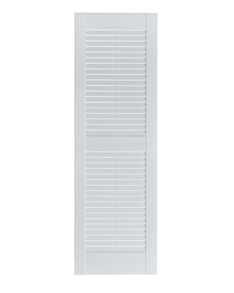 15 x 35 White Perfect Shutters Premier Louver Exterior Decorative Shutter