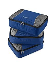 Gonex Packing Cubes Set 3PCs Travel Organizers Luggage Organizers Pouches (Deep Blue)