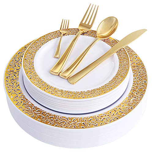 WDF 150PCS Gold Plastic Plates with Disposable Plastic Silverware,Lace Design Plastic Tableware sets include 25 Dinner Plates,25 Salad Plates,25 Forks, 25 Knives, 25 Spoons/Bonus 25 Mini Forks ()
