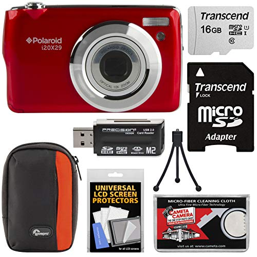 Polaroid i20X29 Digital Camera (Red) with 16GB Card + Case + Reader + Mini Tripod + Kit