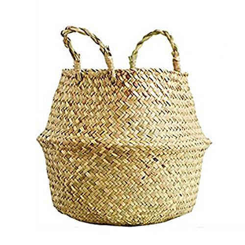 SAVORLIVING Woven Basket Multipurpose Seagrass Belly Basket Storage Basket with Handles for Storage, Laundry, Picnic, Plant Pot Cover, and Beach Bag (XL)