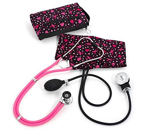 Ribbon Stethoscope (Prestige Medical Aneroid Sphygmomanometer/Sprague-Rappaport Kit, Ribbons and Hearts Black)