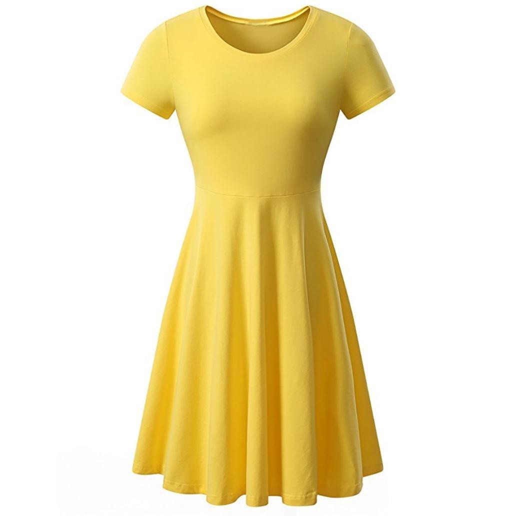❤ Vestido Flared Hem Verano, Señoras de Las Mujeres de Manga Corta Cuello Redondo sólido Casual Mini Absolute: Amazon.es: Ropa y accesorios