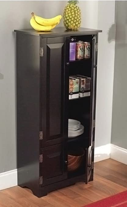 Tall Kitchen Cabinet Black Has Two Fixed And Two Adjustable Shelves