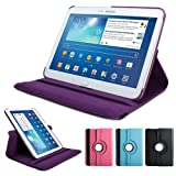 GMYLE(TM) Purple 360 Degree Rotating PU leather Folio Stand Case Cover for tablet Samsung Galaxy Tab 3 10.1 P5200 P5210 P5220 With Vertical and Horizontal Multi Angle Stand